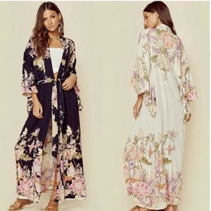 NWT Spell Blue Skies cream & black kimono O/S